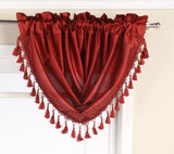 "Elaine Faux Silk Waterfall Valance with Rod Pocket & Fringes. 47""W x 37""L"