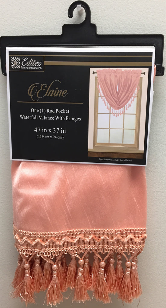Elaine Faux Silk Waterfall Valance with Rod Pocket & Fringes.