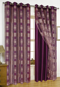 Times Square Clipped Jacquard Double Panel with 8 Grommets and Crushed Taffeta Backing