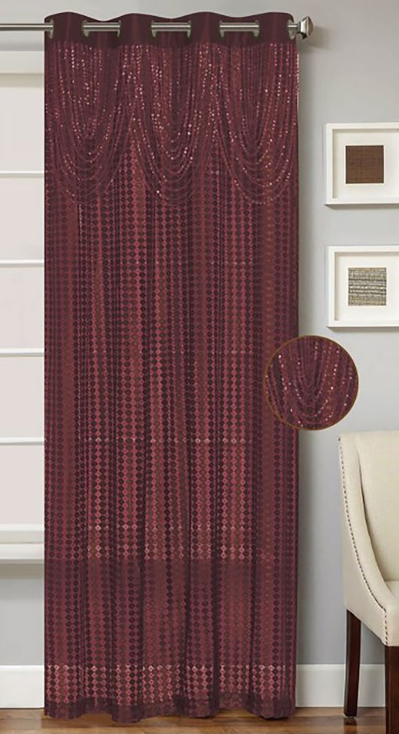 Clyde Knitted Panel with Attached Beaded Valance & 8-Top Grommets