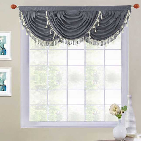 Triple Rod Pocket Waterfall Valance With 8-Top Grommets and Fringes