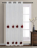 Fiona Floral Embroidered Sheer Panel with velvet design with Stones & 8-Top Grommets