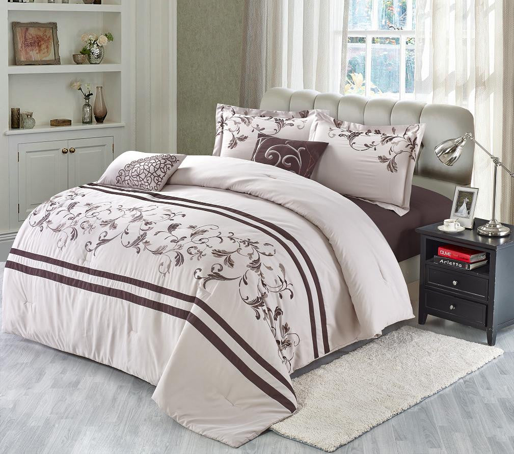 5 Piece Embroidered Comforter Set, Primavera Queen