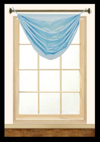 "Elaine Faux Silk Grommeted Waterfall Valance with No Fringes 36""W x 37""L"
