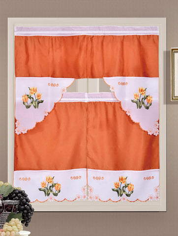 Embroidered Rod Pocket Window Tiers & Swag Valance Set