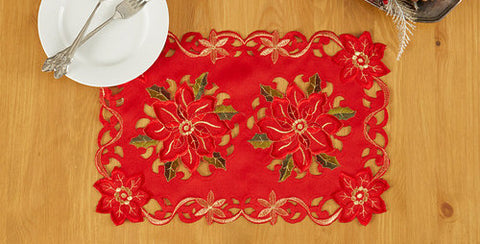 Holiday Themed Hand Embroidered Placemats