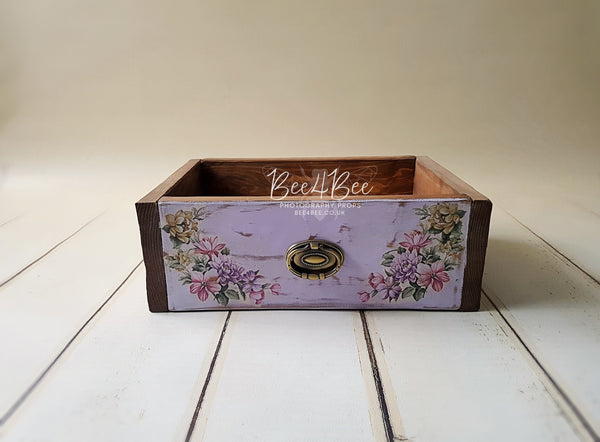 rustic style drawer with flowers 2 RTS