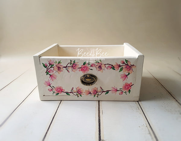 rustic style drawer with flowers 3 RTS