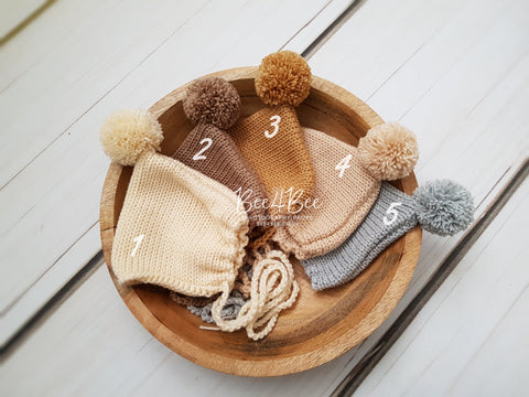 newborn bonnets with pompom RTS