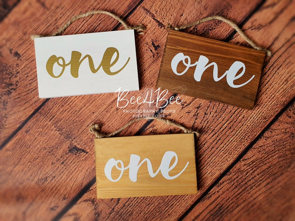 wooden sign ''ONE'' RTS