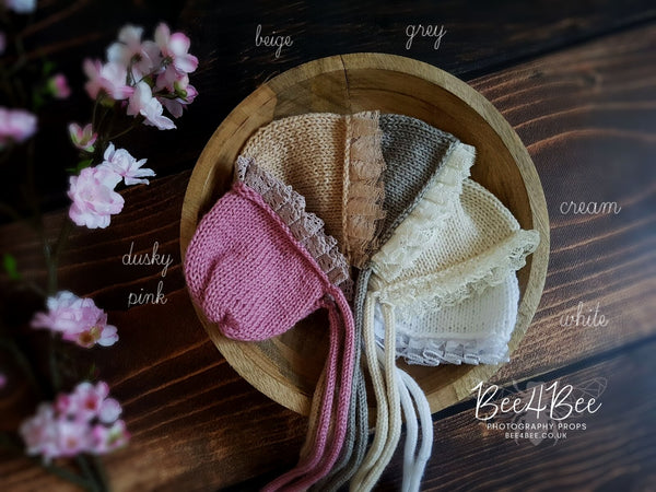 knitted bonnet with lace RTS 5 colours!