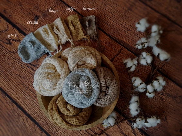 neutral wrap & bear bonnet set RTS