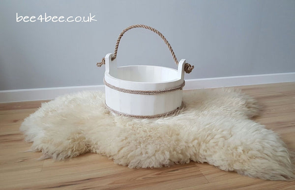 wooden bucket white