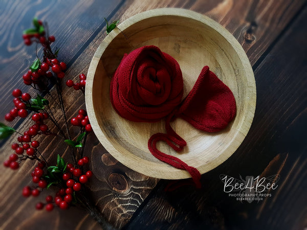 deep red knitted wrap & bonnet