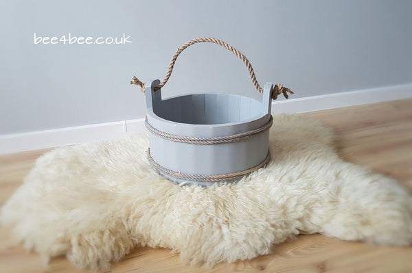 wooden bucket grey