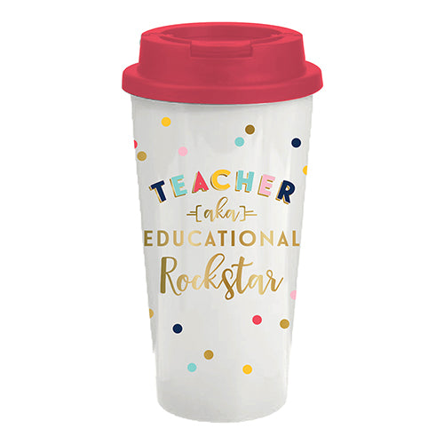 "TEACHER (aka ""EDUCATIONAL ROCKSTAR"") TRAVEL TUMBLER"