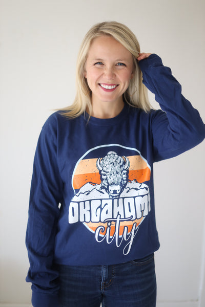 OKC SPIRIT: Retro Buffalo Stripes & Circle - Sweatshirt