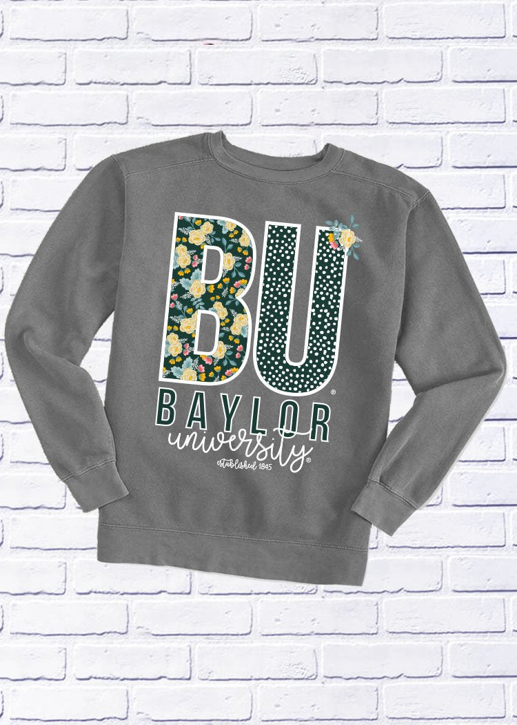 BAYLOR UNIVERSITY 2018: Confetti & Floral - Cotton Sweatshirt