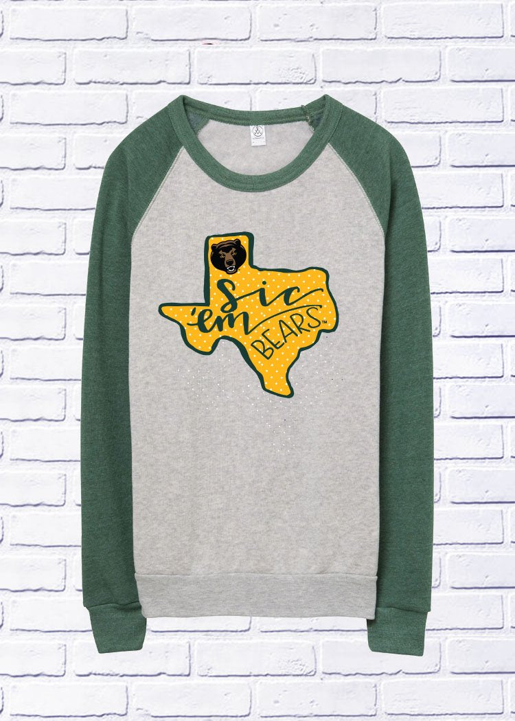 BAYLOR UNIVERSITY 2018: Sic Em' Bears State - Green/Grey Colorblock Sweatshirt