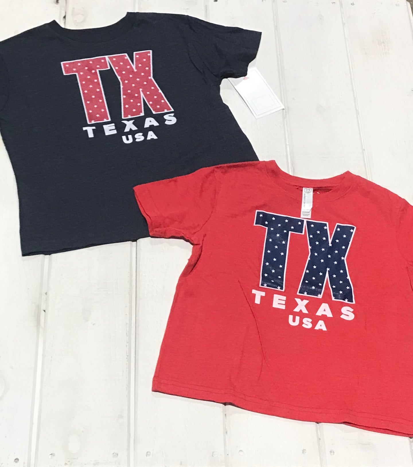 "Kids Texas Blue and White ""TX"""