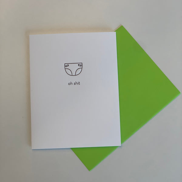 """OH SHIT"" LETTERPRESS CARD"