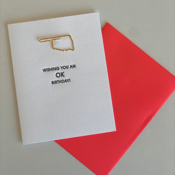 """WISHING YOU AN OK BIRTHDAY"" OKLAHOMA PAPER CLIP LETTERPRESS CARD"