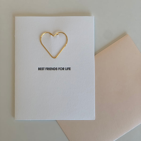 """BEST FRIENDS FOR LIFE"" FRIENDSHIP HEART PAPER CLIP LETTERPRESS CARD"