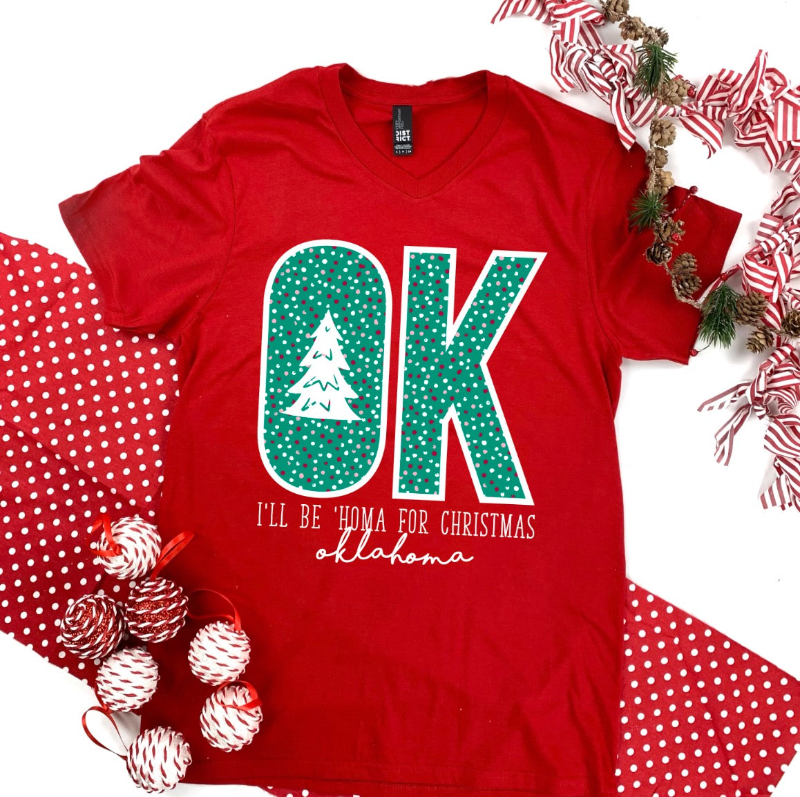 """I'LL BE 'HOMA FOR CHRISTMAS"" (BASIC V-NECK)"