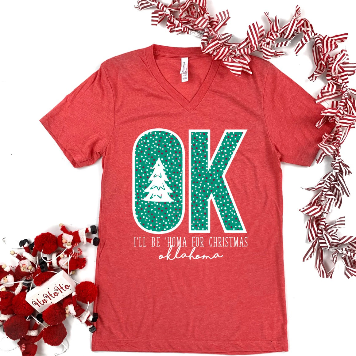 """I'LL BE 'HOMA FOR CHRISTMAS"" (BELLA CANVAS V-NECK)"