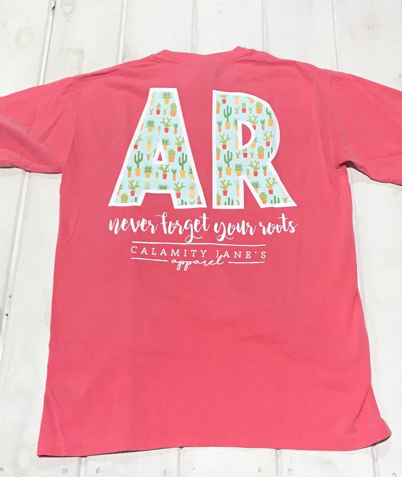 "Arkansas Never Forget Your Roots Cactus ""AR"" Pink"