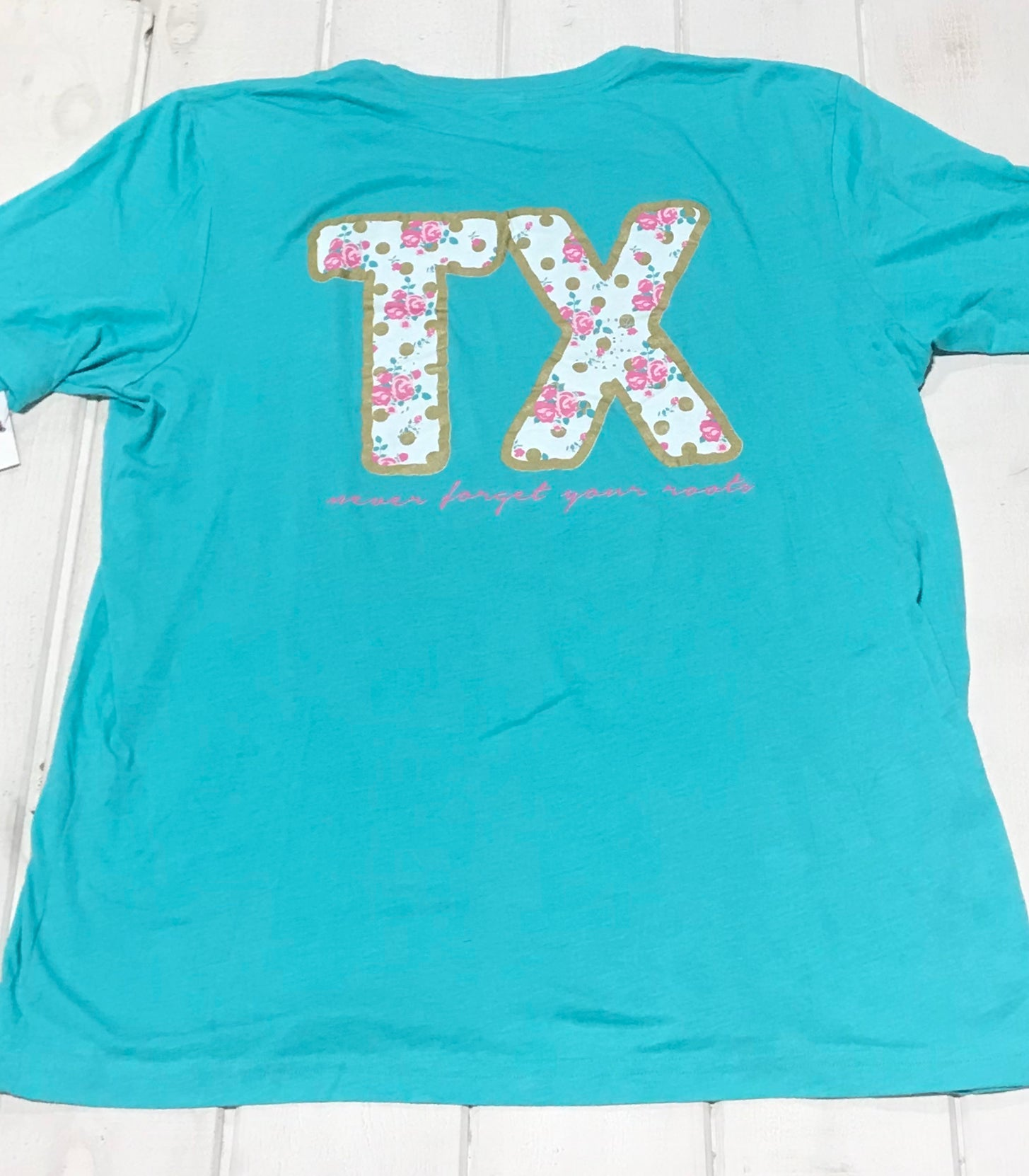 "Texas: Never Forget Your Roots Gold and Rose ""TX"" Crew"