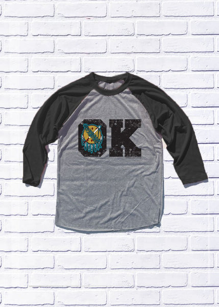 "OKLAHOMA: I've Never Been To Heaven ""OK"" Baseball Raglan"