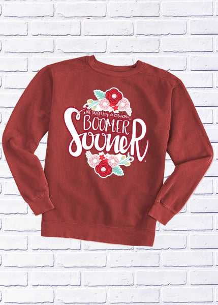 UNIVERSITY OF OKLAHOMA 2018: Boomer Sooner Flower Football - Cotton Sweatshirt