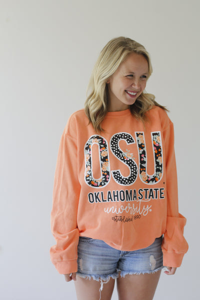 OKLAHOMA STATE UNIVERSITY 2018: Confetti & Floral - Cotton Sweatshirt