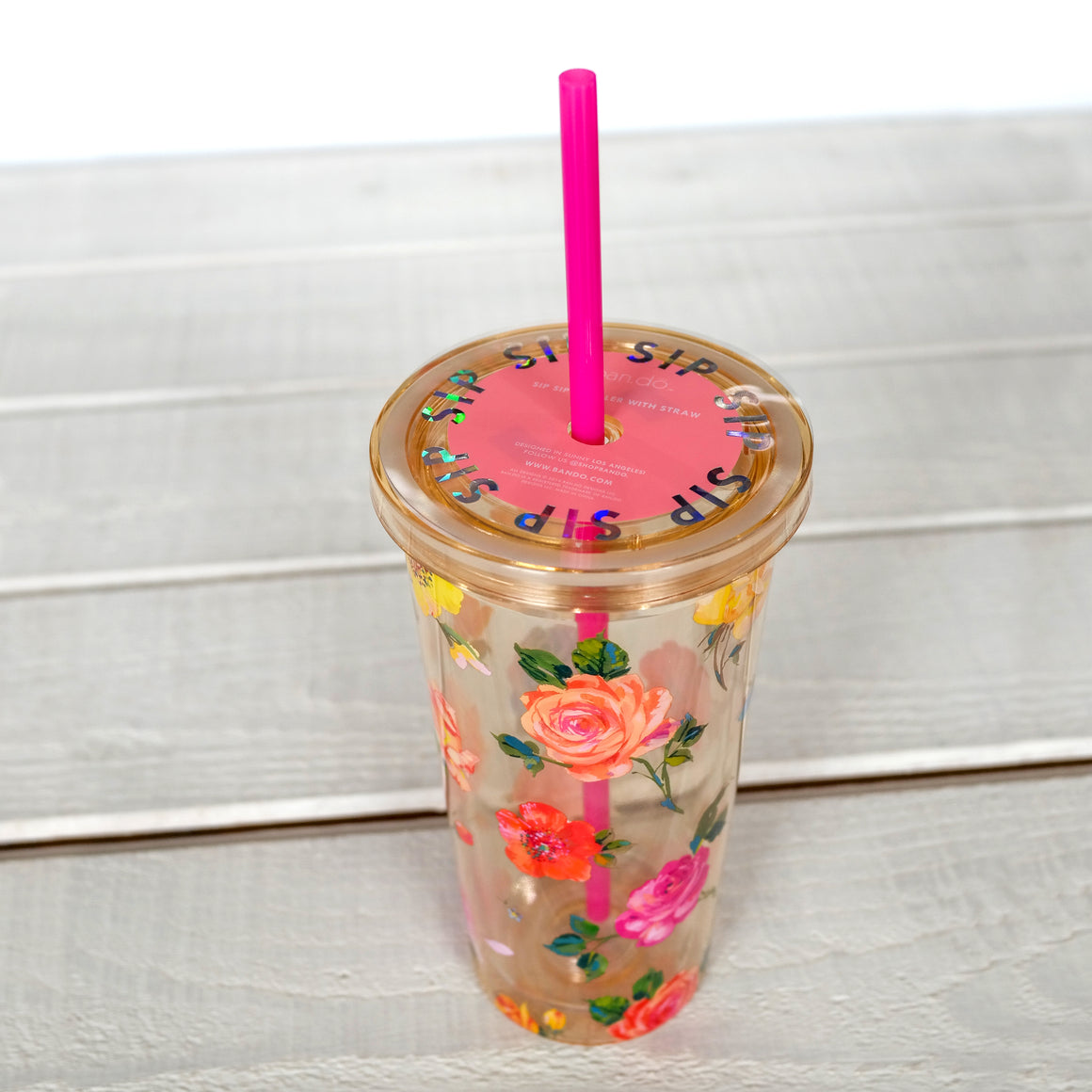 Sip Sip Tumbler with Straw - Coming Up Roses