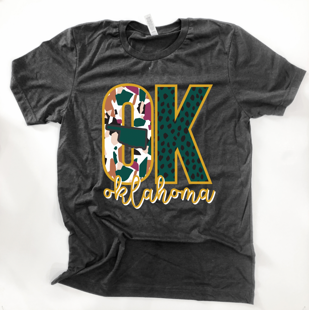 "OKLAHOMA: ""OK"" Emerald & Gold Abstract"