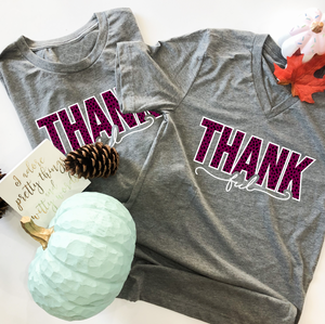 "SALE ITEM: ""THANKful"" Cranberry Dots (BASIC VNECK OR CREW NECK)"
