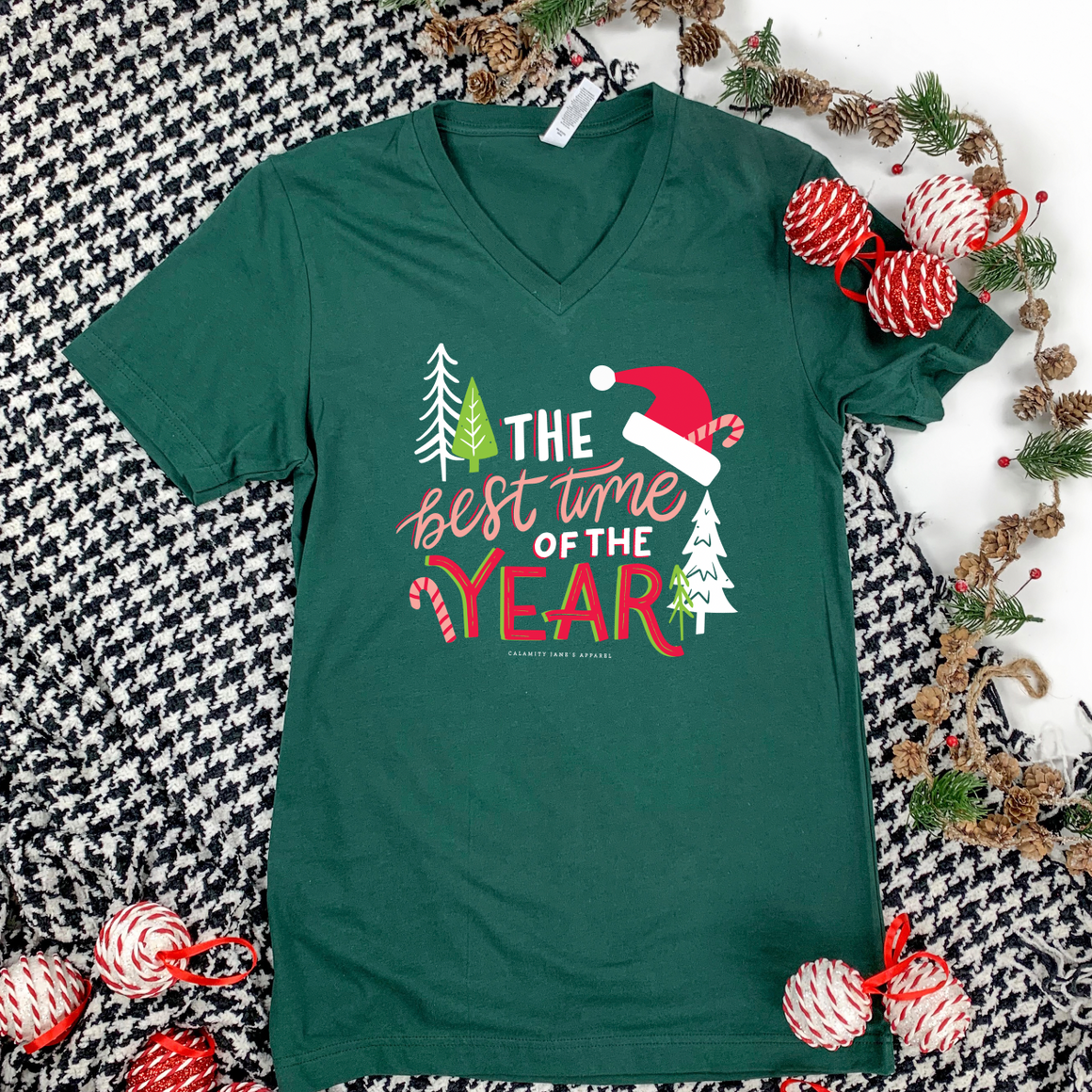 "Christmas 2020: ""The Best Time of the Year"" - BELLA CANVAS VNECK"
