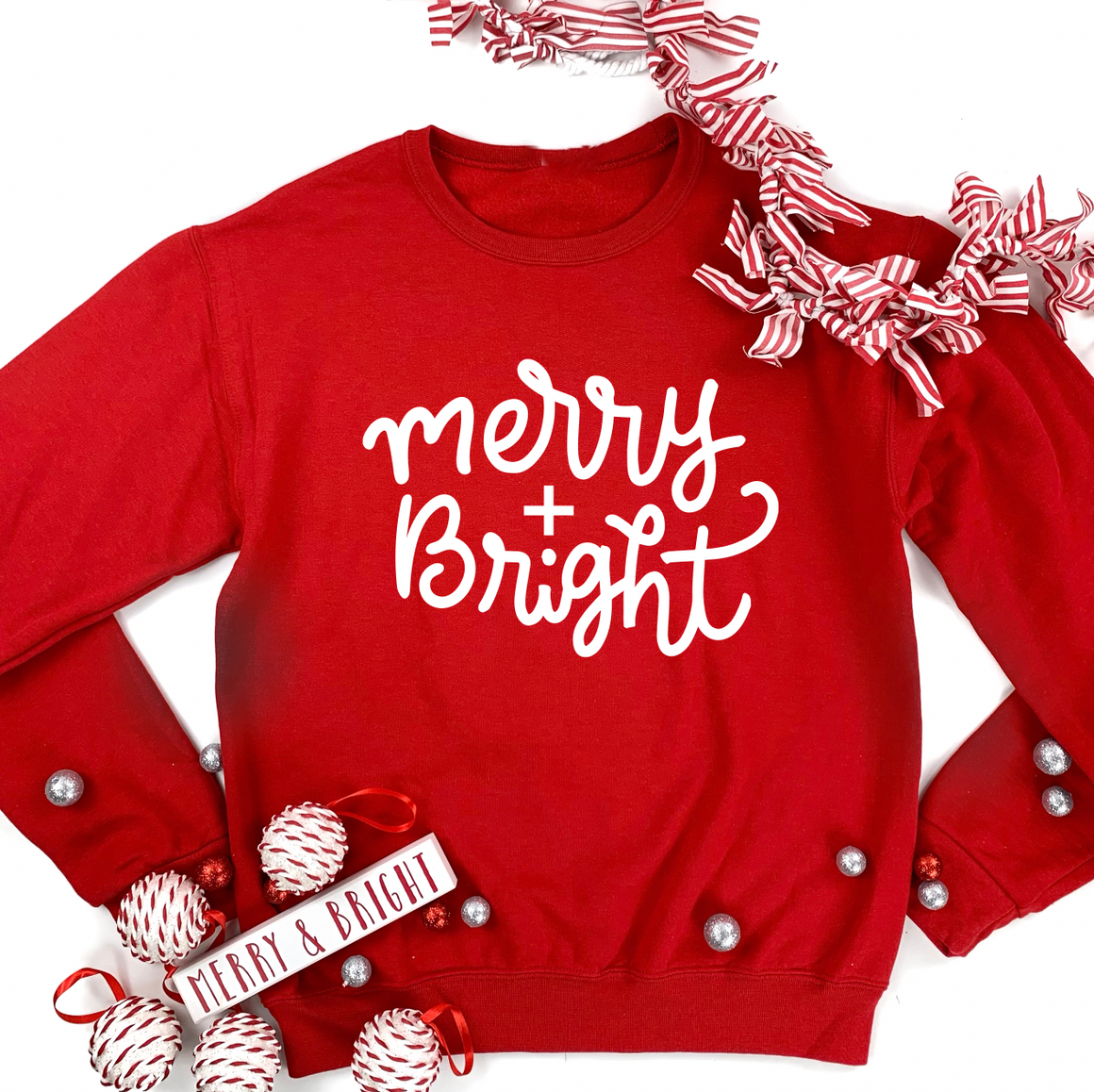 "Christmas 2020: ""Merry & Bright"" Simple Script - SWEATSHIRT"