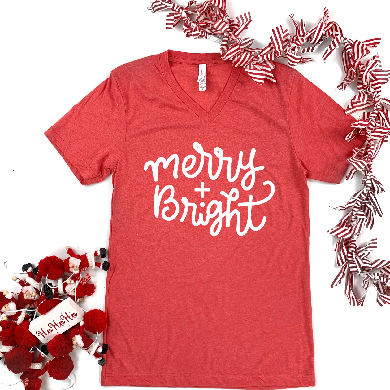 "Christmas 2020: ""Merry & Bright"" Simple Script - BELLA CANVAS (Vneck or Crew Neck)"