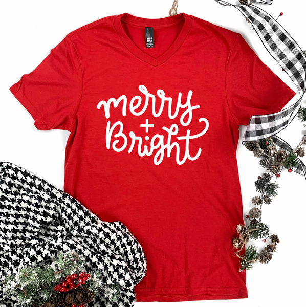 "Christmas 2020: ""Merry & Bright"" Simple Script - BASIC TEE (Vneck or Crew Neck)"