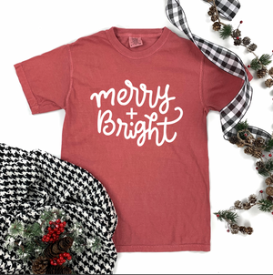 "Christmas 2020: ""Merry & Bright"" Simple Script - COMFORT COLORS SHORTSLEEVE"