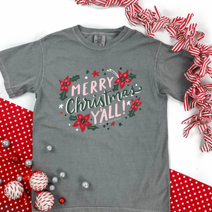 "Christmas 2020: ""Merry Christmas Y'all"" - COMFORT COLORS SHORTSLEEVE"