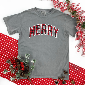 "Christmas 2020: ""MERRY"" Buffalo Check - COMFORT COLORS SHORTSLEEVE"