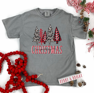 "Christmas 2020: ""Leopard & Buffalo Check Christmas Trees"" - COMFORT COLORS SHORTSLEEVE"