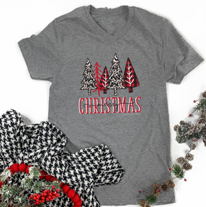 "Christmas 2020: ""Leopard & Buffalo Check Christmas Trees"" - BELLA CANVAS (Vneck or Crew Neck)"