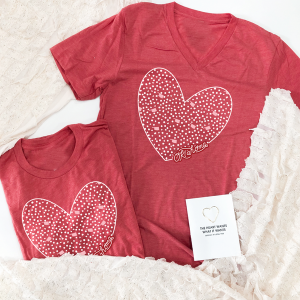 2021 VALENTINES: Oklahoma Heart Pattern - (CREW NECK or VNECK)