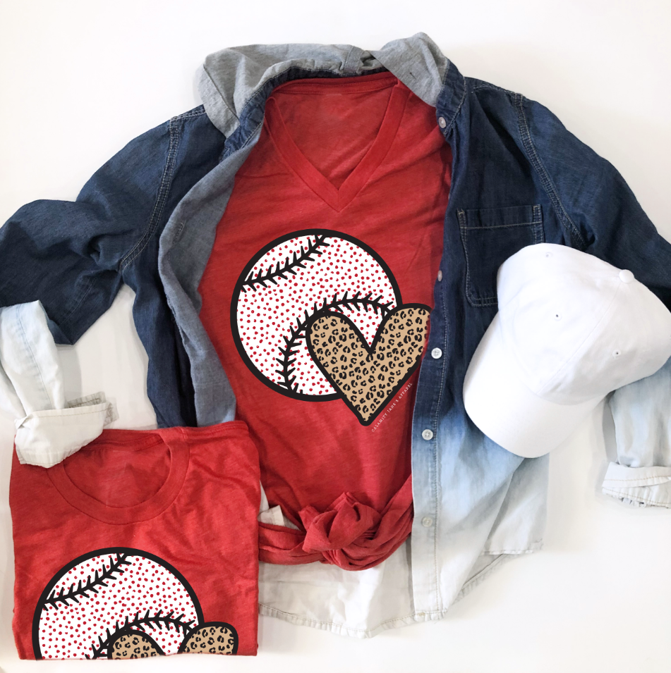 SPORTS LIFE: Confetti Ball & Leopard Heart (CREW NECK or VNECK)