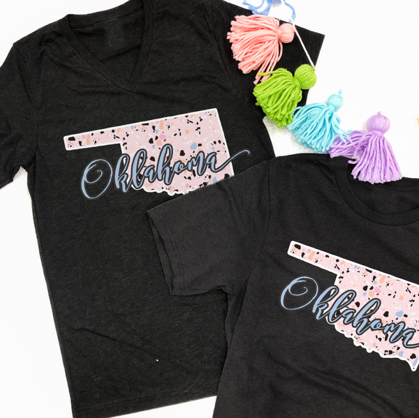SWEET TEE TUESDAY: Oklahoma Pastel Pebbles (BELLA CANVAS CREW NECK OR VNECK)