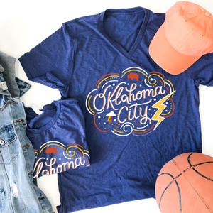 OKC SPIRIT: Decorative Script (CREW OR VNECK)